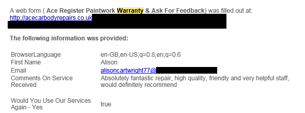 Feedback From Alison Cartwright