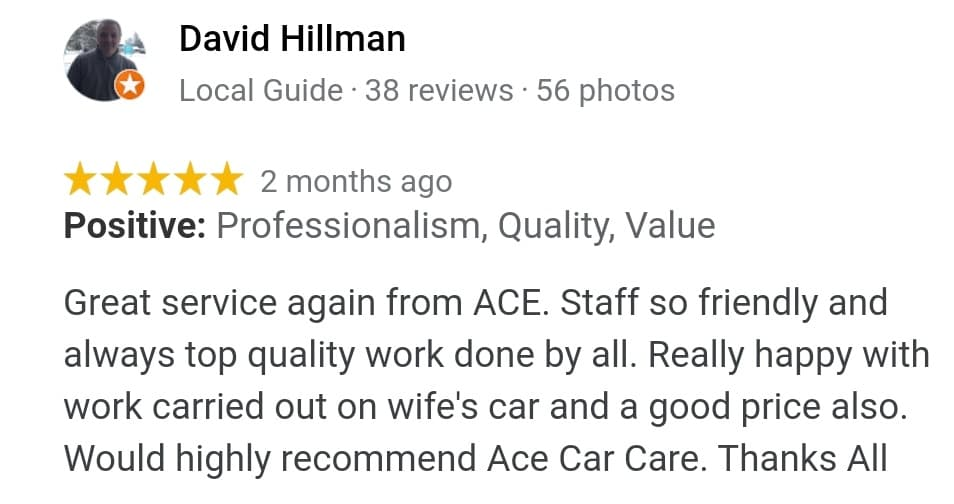 Ace Car Body Repairs Review David Hillman